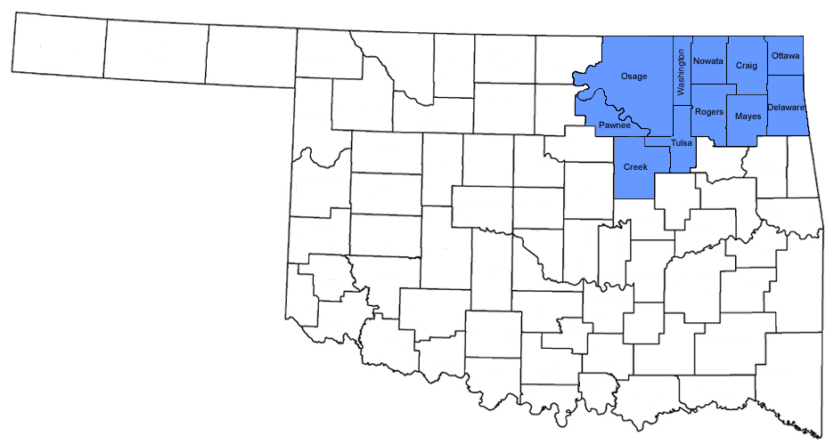 Oklahoma Northern District Counties Northern District Of Oklahoma - Oklahoma counties map